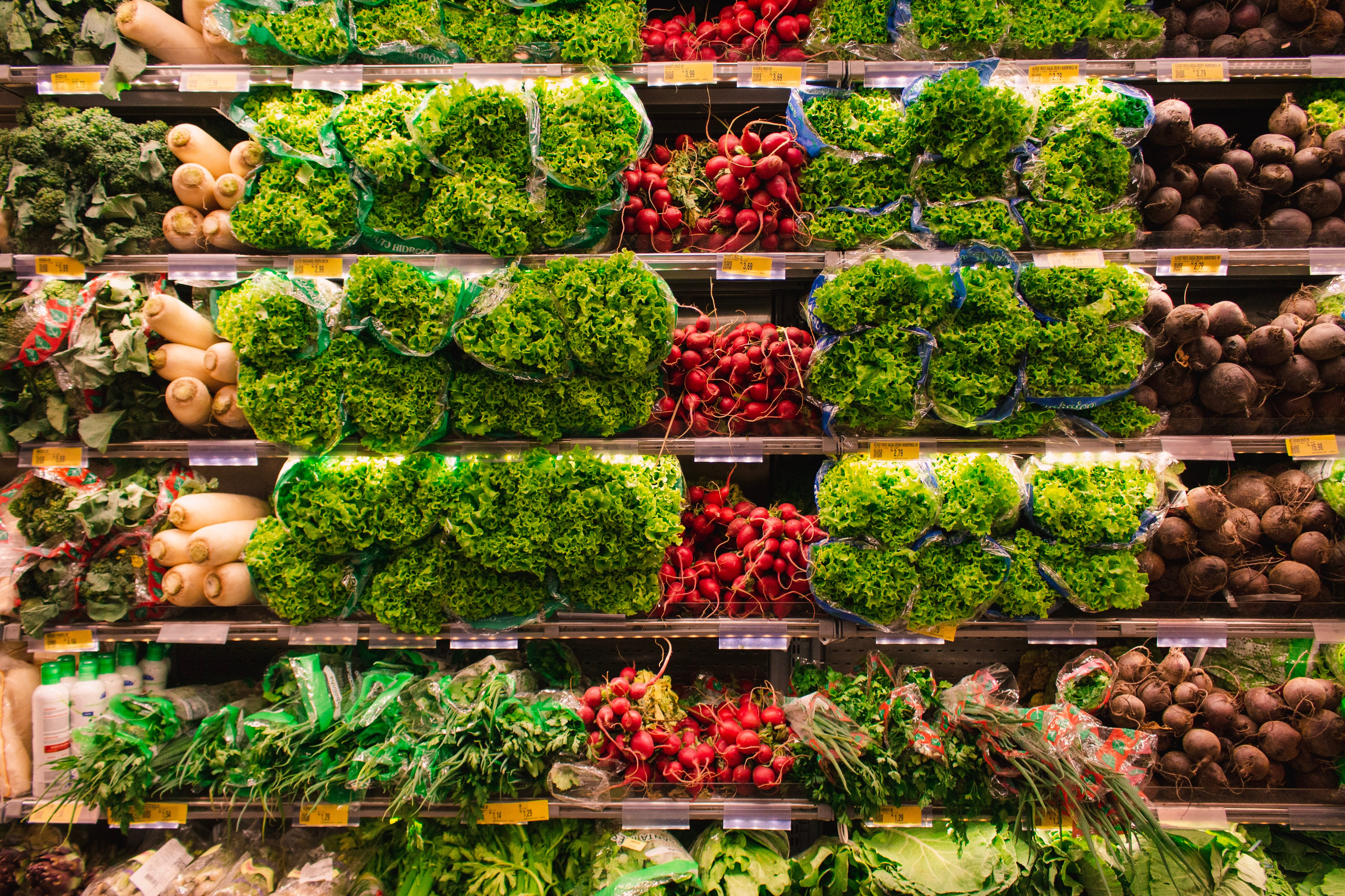 how much should I spend on groceries: shelves of produce at grocery store