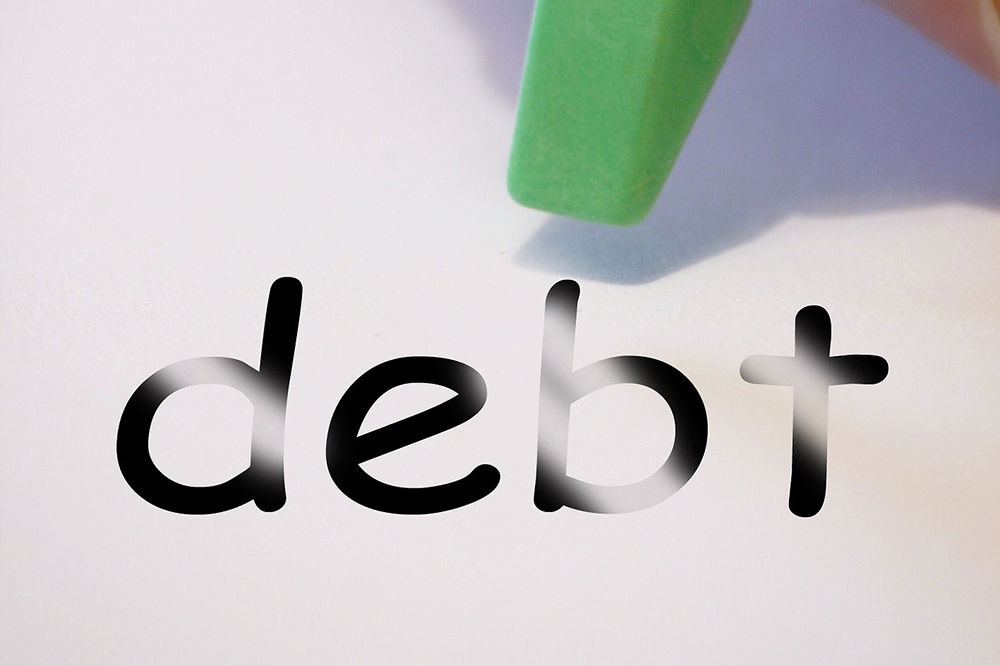 "credit card consolidation loan: the word ""debt"" being erased"