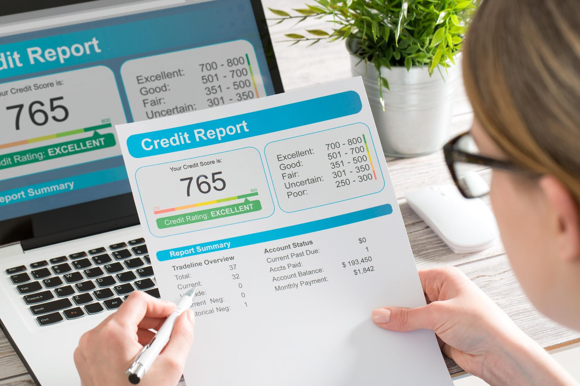 woman looking at credit score