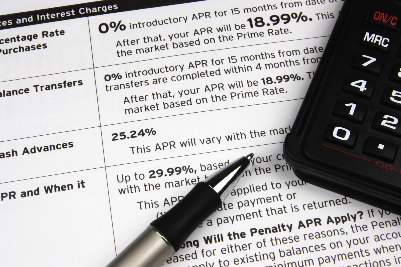 What is APR credit card: A pen and calculator on top of credit terms