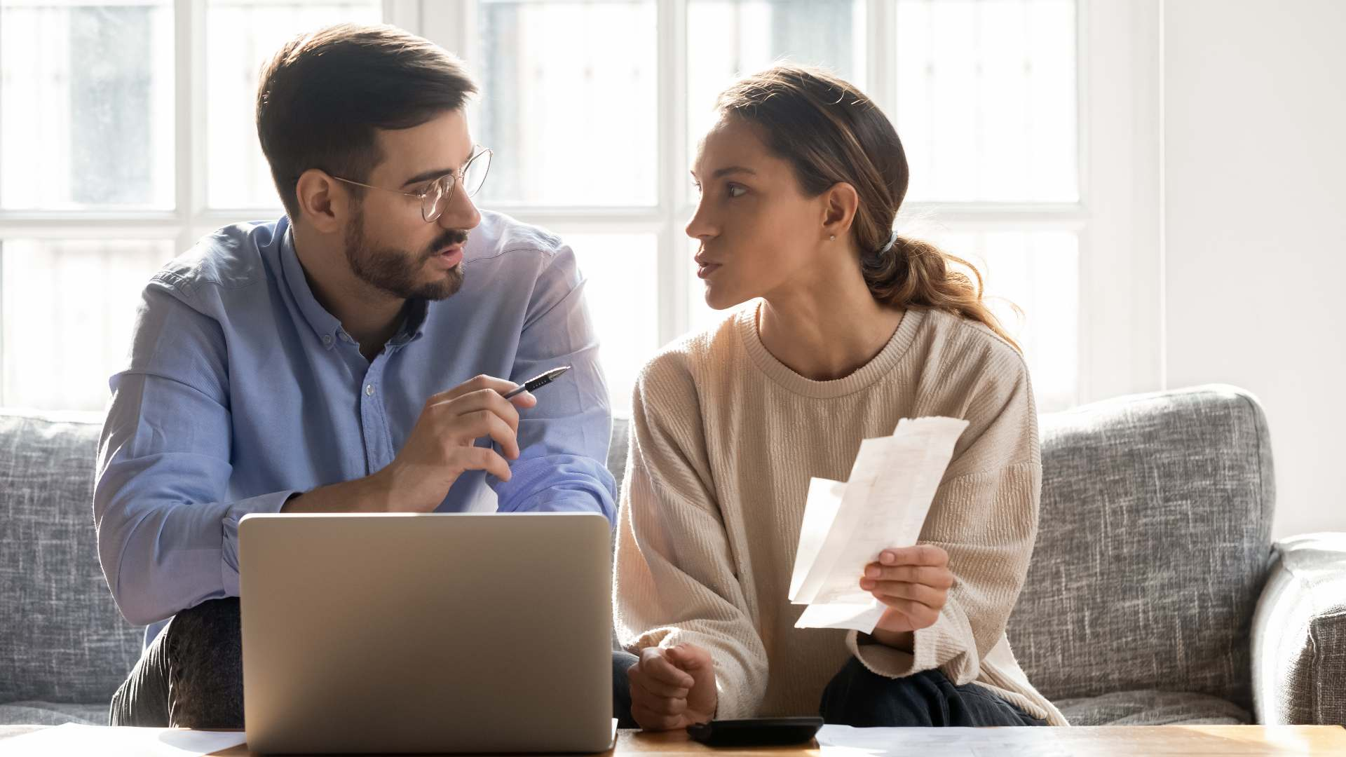 Couple reviewing their financial records
