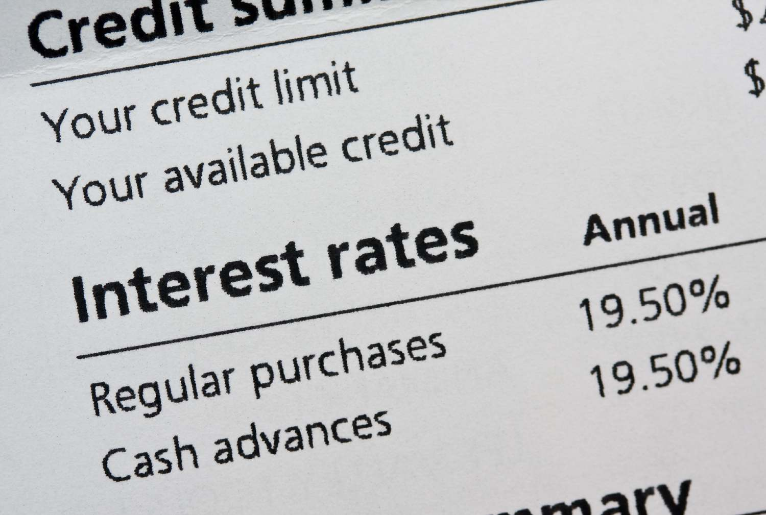Close-up of interest rate on a credit card statement