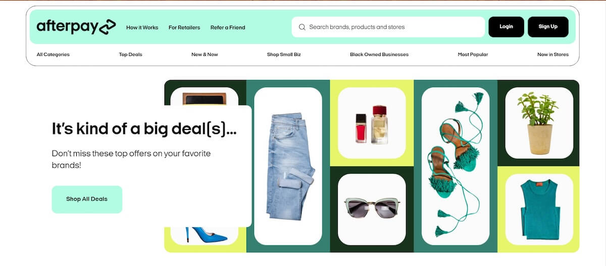 How does afterpay work: A screenshot of Afterpay's website