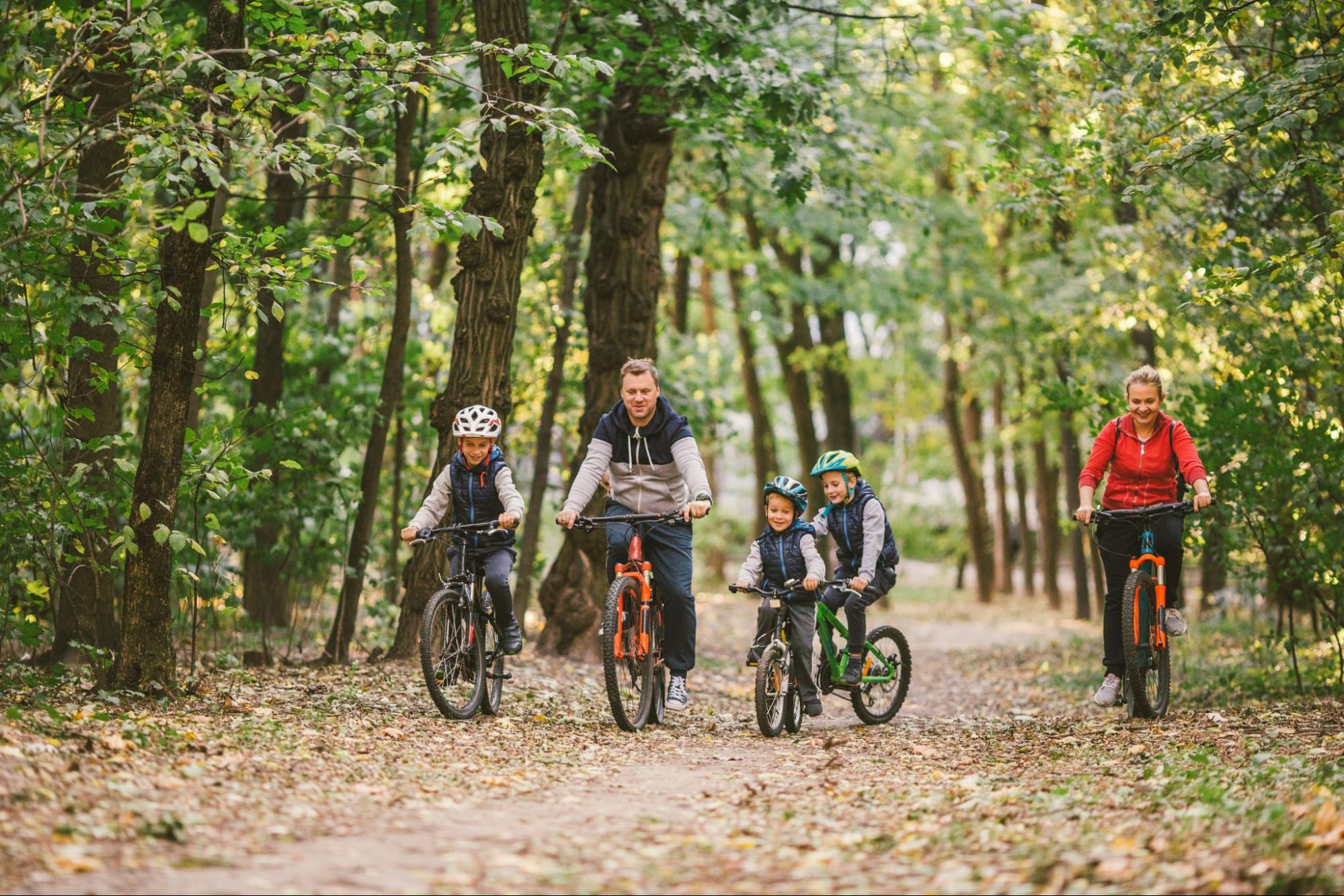 A family goes on a bike ride